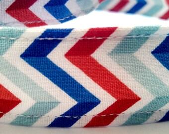 Red, White, and Blue Chevron Stripe- Dog Collar