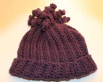 Purple Striped Crochet Hat