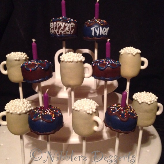 Birthday Cake & Beer Mugs 21st Bday Cake Pops Adult