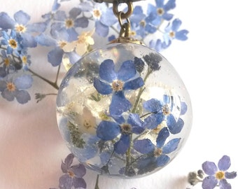 Forget me not necklace.  Gift for Her. Real Flower Jewelry