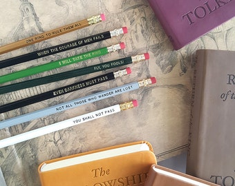 Lord of the Rings Pencil Set — 7 Engraved Pencils, JRR Tolkien, One Ring to Rule Them All, Sam, Frodo, Gandalf, Aragorn, LoTR