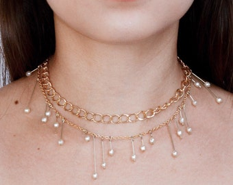 Pearl Necklace Victorian Jewelry Handmade Jewelry Unique Jewelry Gold Chain Layered Necklace Pearl Choker Beaded Necklace Artisan Jewelry