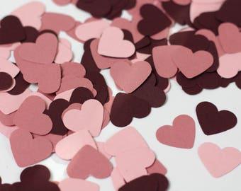 Burgundy Wedding Confetti - Valentine's Day Confetti - Burgundy and Mauve Heart Confetti - Burgundy Baby Shower