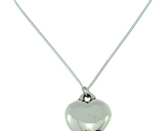 8th Anniversary Solid Bronze Polished Heart Pendant - Perfect 8th Anniversary Gift Idea