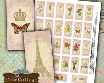 Paris Chic, Digital Collage Sheet, 1x2 Domino Tile Images, 1x2 Collage Sheet Printable Images, Decoupage Paper, Printable Sheet,