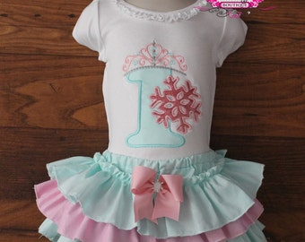 Winter Wonderland Princess Birthday Ruffle Skirt Bloomers Outfit