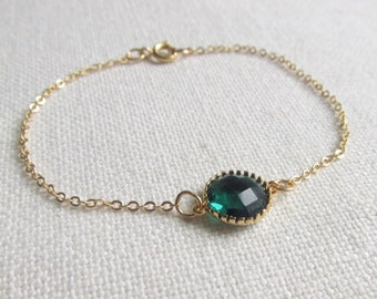 Emerald Green Bracelet, Glass Stone, Gold Plate Chain, Dainty Modern Everyday Jewelry, Petite
