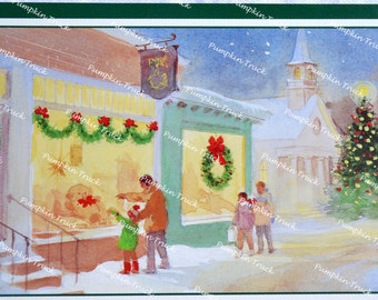 Vintage Christmas Card -  Window Shoppers in Front of Toy Store - Unused