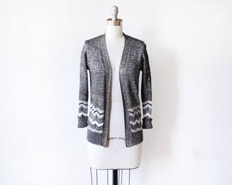 70s metallic cardigan, vintage 1970s silver lurex cardigan, lamé chevron open sweater, small s