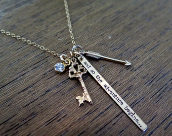 Inspirational Necklace, Adventure Awaits, And So The Adventure Begins, New Adventures, Adventurer, Lets Be Adventurers Necklace, Travel