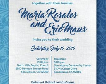 Hawaiian Invitation, Luau party, luau wedding, tropical wedding, Flower invitation, Hawaiian Party, Blue wedding invitation