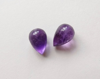 African Amethyst Upside Down Half Drilled Acorn Inverted Teardrops 8x12 mm One Pair J6719
