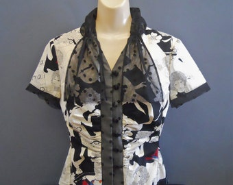 Retro Blouse, Black and White, Geek Chic, OOAK, Victorian, Rosalba Valentino Couture, Vintage Inspired, Peculiar, Abstract Art, Nerdgirl
