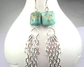 Long Turquoise Earrings Chain Tassel Boho Sterling Silver Blue Gemstone Bohemian Earrings