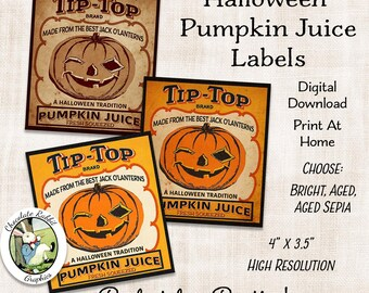 Halloween Pumpkin Juice Label Digital Download Printable Party Tags Bottle Labels Vintage Style Image Clip Art Art Scrapbook Collage Sheet