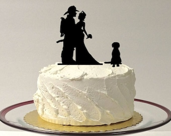 fireman groom and bride silhouette Wedding Cake toppers funny