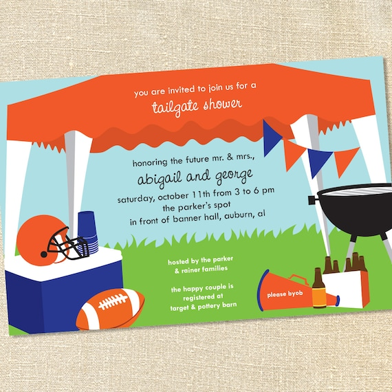 Sweet wishes football tailgating tent invitations customize like this item stopboris Image collections
