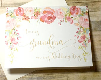 To my Grandma on my Wedding Day Card - Vintage Wedding Card - Thank You - Grandmother - Grandparents - Wedding Thank You - HEIRLOOM
