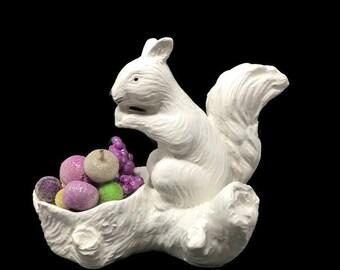 Vintage White Squirrel Nut Bowl Candy Dish - Mid-Century Italian Ceramic Import - Rustic, Country, Shabby Decor - Squirrel Figurine