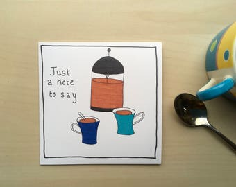 Just a Note to Say Illustrated Greetings Card