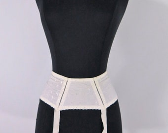 Vintage Garter Belt | White Suspender Belt for Stockings - xs, sm