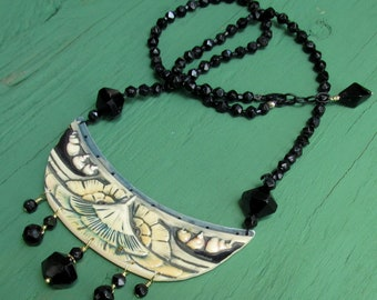 1920's Celluloid Repurposed into a Necklace ART DECO French Jew Beads Upcycled Jewelry