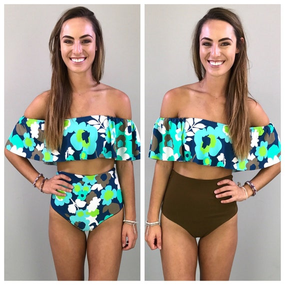 Floral print cheeky high waisted bikini bottoms size small reversible