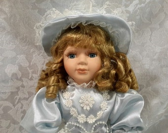 Blonde Porcelain Doll in Blue Dress, Vintage Collectible Doll, Decorative Doll, Home Decor, Gift Giving