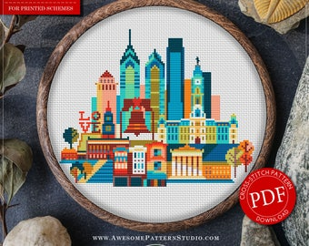 Philadelphia Cross Stitch Pattern for Instant Download *P160 | Easy Cross Stitch| Counted Cross Stitch|Embroidery Design| City Cross Stitch