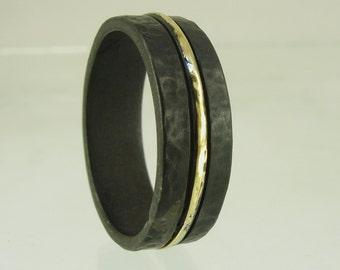 Wedding ring men,black mens wedding band,mens black ring,silver and gold ring,black silver ring,black wedding,wedding band mens, mens ring,