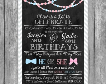Birthday and Gender Reveal Combined Invitation