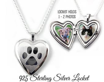 Custom Photo Heart Pet Locket 925 STERLING SILVER  - Paw Print Locket Necklace -  In Memory Pet Heart Memorial Remembrance Engraved Name