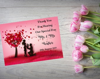 Personalised Wedding Thank You Cards with Matching Envelopes Pack Of 10 TY133