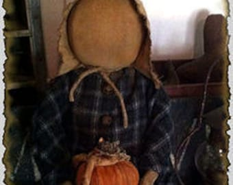 ePattern~Primitive Fall Prairie Doll & Her Stack of Pumpkins~Sewing Pattern