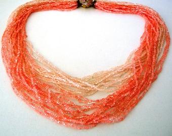 Pink necklace, vintage, beads, multy strands