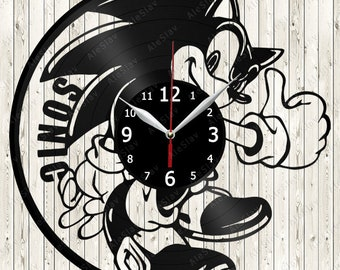Sonic Vinyl Record Wall Clock Handmade Art Decor Your Room Original Gift 1312