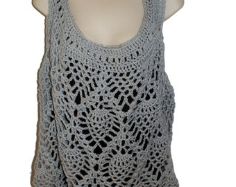 Crochet Top, Sleeveless Top, Gray Tank, Summer Crochet, Summer Blouse, Cotton Tunic, Womens Summer Shirt, Pineapple Crochet, Sun Top,
