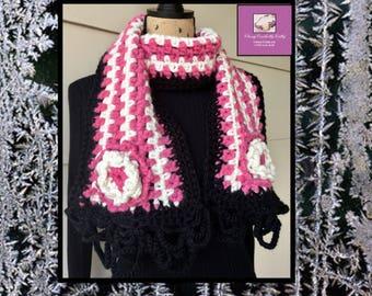 Boho Scarf, Gift For Her, Bohemian Scarf, Freeform Crochet, Crochet Neck Warmer, Chunky Scarf, Colorful Scarf, Festival Scarf, Handmade Wrap