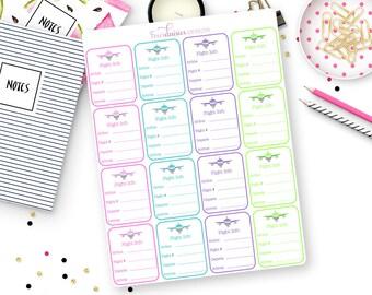 16 Flight Info Stickers for Erin Condren Life Planner, Plum Paper or Mambi Happy Planner