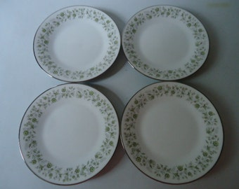 """Noritake 6 3/8"""" Bread & Butter Dessert Plates Set of Four 6879 Wynwood 1967-1975 Japan Vintage"""