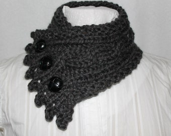 Women's Cowl, Fisherman's Wife Cowl, Chunky Knit Cowl, Cable Knit Cowl, Knitted Cowl, Granite Grey