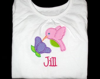 Custom Personalized Applique HUMMINGBIRD with FLOWER and NAME Bodysuit or Shirt - Bubblegum Pink Mini Gingham, Purple, and Lime Green