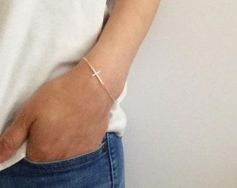 Cross Bracelet, Silver Sideway Cross Bracelet, Dainty Cross Bracelet, Minimalist Jewelry, Sterling Silver