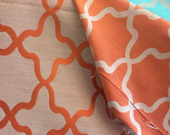 Orange Quatrefoil REVERSIBLE Fabric