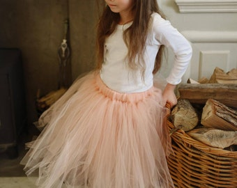 Peach, Blush Pink or Grey Flower Girl Tutu, Tulle Skirt, Bridesmaid tutu, Ballet Tutu UK, Flower Girl Dress, Long Girls Tulle Tutu Skirt UK