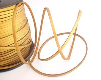 6 Yards (18 Ft.) Gold Colored Faux Suede Cord, Jewelry Making Supplies, with Imitation Leather top