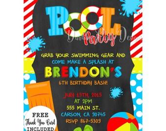 Pool Party Invitation, Pool Party Invite, Pool Party, Pool Invitation, Pool Invite, Boys Pool Party Invitation, Pool Birthday