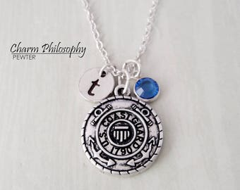 United States Coast Guard Necklace - US Coast Guard Jewelry - Monogram Personalized Initial and Birthstone
