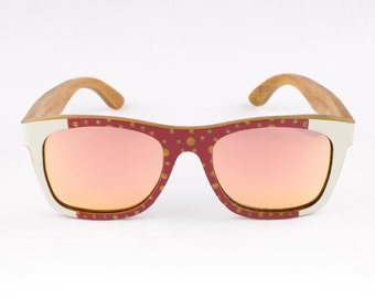 Wood Sunglasses, Polarized Sunglasses, Wooden Sunglasses, Wood Eyewear, Handmade Sunglasses, Red Sunglasses, Unique Sunglasses by WINKWOOD