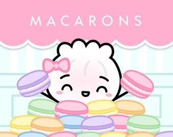 "BUNDLE // ""Macarons"" [1 - Sticker Sheet, 2 - Washi, 3 - Notebook] // The Steamie Loves Dessert Collection"